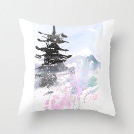 Sumie No.10 Pagoda and Mt.Fuji Throw Pillow