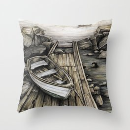 Old Boat on the Dock Throw Pillow