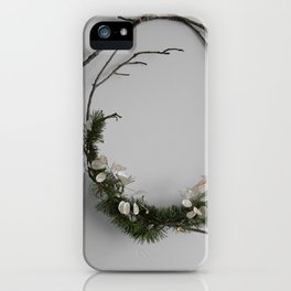 Minimalist Rustic Holiday Wreath iPhone Case