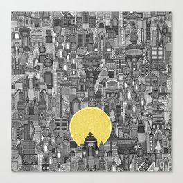 space city sun bw Canvas Print