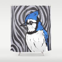 jay fleck Shower Curtains featuring Blue Jay by turddemon