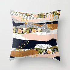 Collage of textured shapes and flowers Throw Pillow