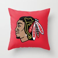 blackhawks Throw Pillows featuring Blackhawks Inspired D Rose by beejammerican