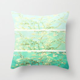 Vincent Van Gogh Almond Blossoms Panel art Aqua Green Throw Pillow