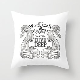 Dive Deep - Black and White Throw Pillow