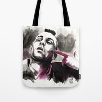 taxi driver Tote Bags featuring Taxi Driver by Juan Pablo Cortes