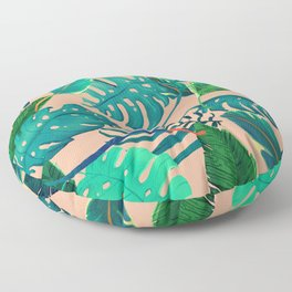Summer Tropical Leaves Floor Pillow