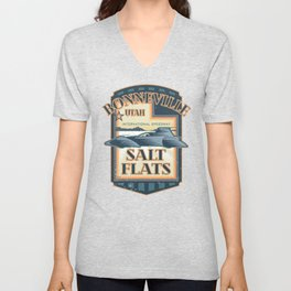 Bonneville Salt Flats International Speedway Vintage Retro Style Illustration Unisex V-Neck