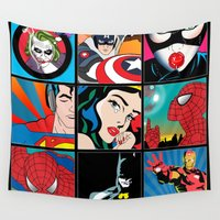 dc comics Wall Tapestries featuring COMICS by mark ashkenazi