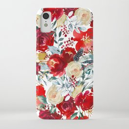 Red teal hand painted boho watercolor roses floral iPhone Case