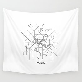 Paris Metro Map Subway Map Paris Metro Graphic Design Black And White Canvas Metropolian Art Wall Tapestry