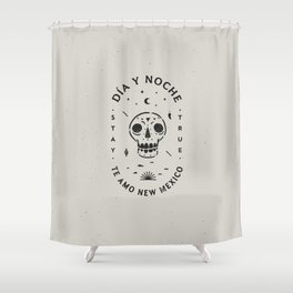 """Te Amo New Mexico"" sugar skull badge (day) Shower Curtain"