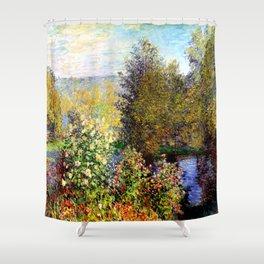 Claude Monet : A Corner of the Garden at Montgeron Shower Curtain