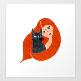 Besties. Crazy cat lady Art Print