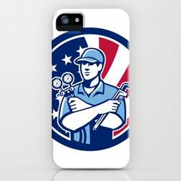 American Air-Con Serviceman USA Flag Icon iPhone Case