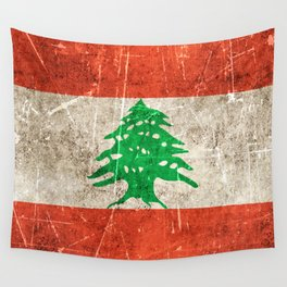 Vintage Aged and Scratched Lebanese Flag Wall Tapestry