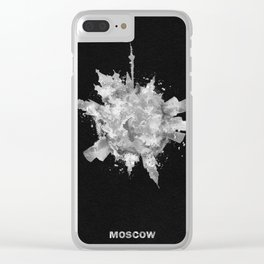 Moscow, Russia Black and White Skyround / Skyline Watercolor Painting (Inverted Version) Clear iPhone Case