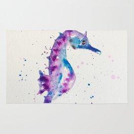 sea horse watercolor Rug
