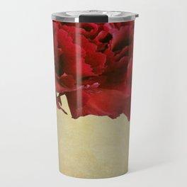 Single Dark red Carnation flower in deep blue bottle. Travel Mug