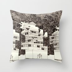 Deconstructed Buildings at Night Throw Pillow