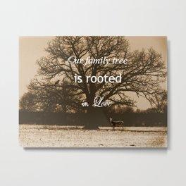 Rustic Black and Tan Tree Deer Cabin Art Lodge Decor Modern Country A658 Metal Print