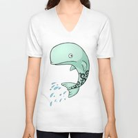 the whale V-neck T-shirts featuring Whale by Freeminds