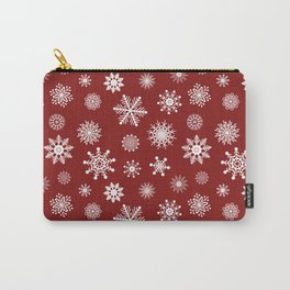 Snowflakes in Red Carry-All Pouch
