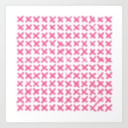 Minimalist Brush Strokes X Pink Art Print