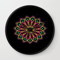 stained glass Wall Clocks featuring Stained Glass by Designs By Misty Blue (Misty Lemons)