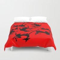 greyhound Duvet Covers featuring greyhound yoga by Matt Mawson