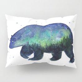 Polar Bear Silhouette with Northern Lights Galaxy Pillow Sham