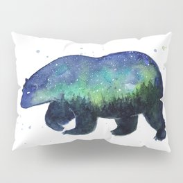 Polar Bear Silhouette with Northern Lights Galaxy Pillow Sham