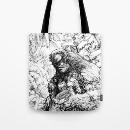SASQUATCH EATING SALMON Tote Bag