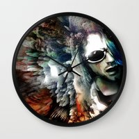 kurt cobain Wall Clocks featuring Kurt by Tordu Design JS Lajeunesse