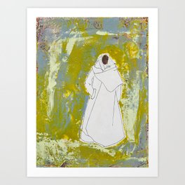 Ethnic Lady in Greens and Blues Art Print