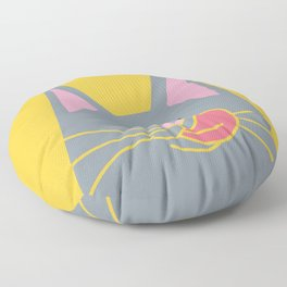Cute Russian Blue Cat in Yellow Floor Pillow