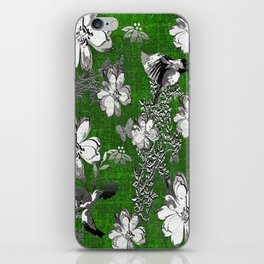 Birds Green Gray White Toile iPhone Skin