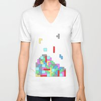 tetris V-neck T-shirts featuring Tetris by #dancingpenguin