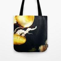 jellyfish Tote Bags featuring Jellyfish Love by Masanori Toda