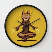 jedi Wall Clocks featuring Jedi cat by Toms Tomsons