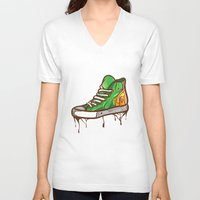 sneaker V-neck T-shirts featuring Green Sneaker by ArievSoeharto