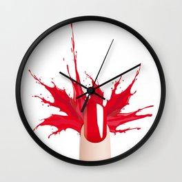 Red nail Wall Clock