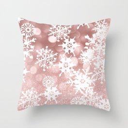 Winter white rose gold snowflakes glitter bokeh Throw Pillow