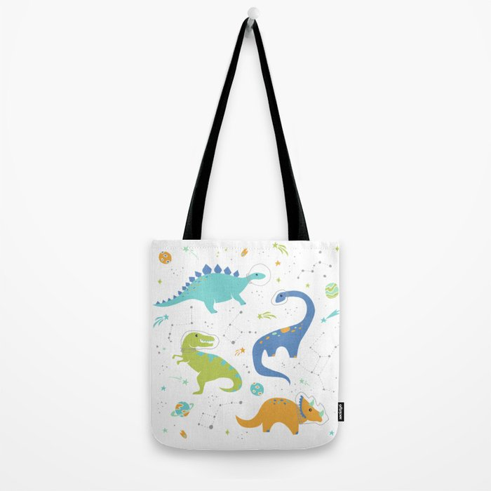 Space Dinosaurs on White (Orange + Blue) Tote Bag