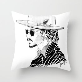 Johnny Depp with sun-glasses Throw Pillow