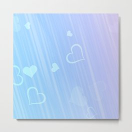 blue pink hearts for like Metal Print