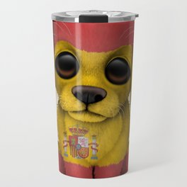 Cute Puppy Dog with flag of Spain Travel Mug
