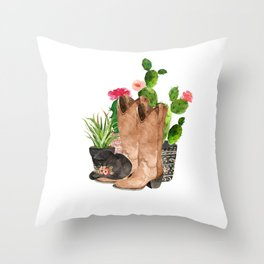 Boots and Cactus Throw Pillow