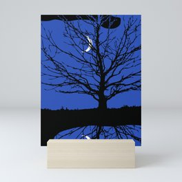 Moon with Tree, Cobalt Blue, Black and White Mini Art Print