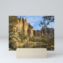 Cool Formations of Smith Rock in Morning Light Mini Art Print